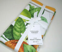 Williams Sonoma Summer Citrus Citron Cotton Dinner Napkins Set of 4 New