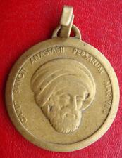 ST. ANASTASIUS OF PERSIA PATRON OF HEADACHES RARE ANTIQUE BRONZE MEDAL PENDANT