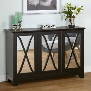 Black Wooden Buffet Server Sideboard Mirror Storage Cabinet China Hutch Cupboard