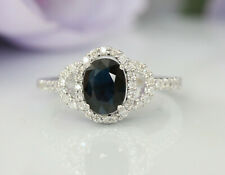 Gorgeous 14K White Gold 0.6 ct Natural Diamonds and Blue Sapphire Luxury Ring