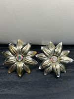 Vintage 1950's Crystal Amber AB  Daisy Button Clip Gold Tone Earrings.