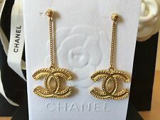 NEW AUTHENTIC CHANEL '16 GOLD XL GOLD CC DANGLE BAROQUE EARRINGS WITH RECEIPT.