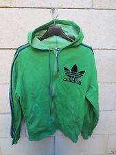 VINTAGE Veste à capuche ADIDAS Trefoil vert Ventex tracktop jacket 70's 168 S