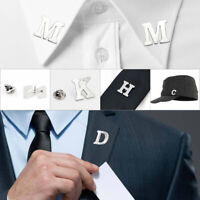 26 Letters Men Brooch Lapel Pin Collar Clip Party Suits Wedding Gift Accessories