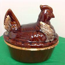 Hull Brown Drip Hen On Nest Chicken Casserole Baking Dish USA Pottery