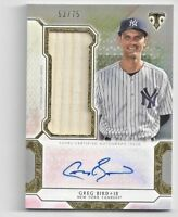 2018 Topps Triple Threads Greg Bird Autographed Game Used Relic Numbered 53/75