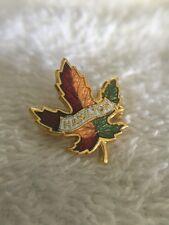 Hamilton Ontario Canada Maple Leaf Enamel & Gold Tone Metal Lapel Pin