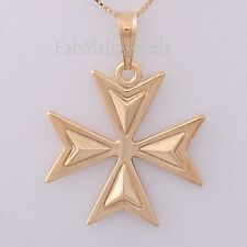 MALTESE CROSS Amalfi Genuine 9ct 9k Gold 3D Pendant Knights of St John Malta