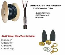 6mm 3 Core SWA Steel Wire Armoured Cable 30M BASEC + BW20 Gland Pack FREE P&P