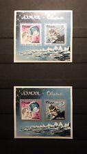 2x Bloc Sheet AJMAN Apollo Mission  Emirates Imperf. + Perf. Neufs MNH**