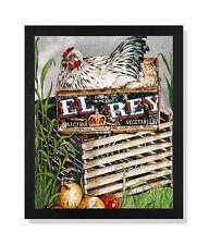 Country Farm Chicken Wood Box Nest Folk Wall Picture Black Framed Art Print