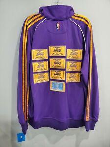 NWT Authentic Adidas LA Lakers Championship Ceremony Warm up Jacket Mens L Kobe
