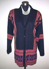 Jason Maxwell Knit Sweater Sz L Black Brown Red Mohave Print Women's Cardigan