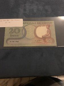 Congo Democratic Republic   20 Francs   15.9.1962   P.4a.7   Unc