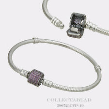 "Authentic Pandora Bracelet Signature Clasp Fancy Purple CZ 6.3"" 590723CFP"