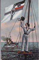 uralte AK, Matrosin im Ausguck, gezeichnet Feldpost Marine Schiffspost 1916