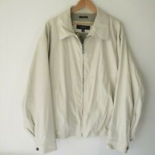 Claiborne Beige Microfiber Zip Front Work Jacket Coat Men's Sz XXL