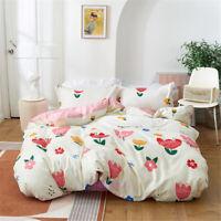 White Flower Queen/Single/Double/King Bed Quilt/Doona/Duvet Cover Set Cotton