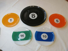 Billiards 5 piece serving tray and snack plates pool billiard mancave bar 8 ball
