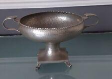 More details for vintage don pewter hammered bowl pedestal footed twin handles