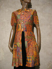 CHIC VINTAGE TUNIQUE LONGUE 1970 VTG TUNIC 70s SEVENTIES TOP 70er RETRO (36/38)