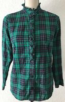 Vineyard Vines Plaid Womens Sz 0 Long Sleeve Button Down Ruffle Shirt Blouse (u4