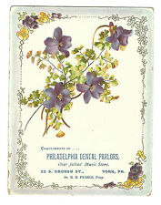 Trade Card Philadelphia Dental Parlors York PA Dr Pearce No Pain Extractions