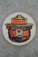 (4) SMOKEY BEAR WOOD COASTER SET OF (4) U.S. FOREST SERVICE RUSTIC NOS CLASSIC