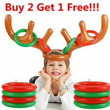 Inflatable Reindeer Christmas Hat Holiday Party Antler Ring Toss Game Toy Kids