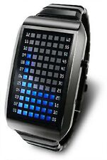 WATCH BINARY WITH 72 LED BLUE AND BRACELET STEEL BLACK