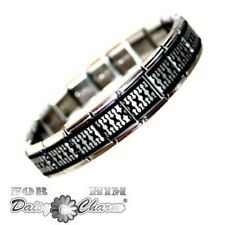 JSC Mens Mexican Weave Stainless Steel Charm Bracelet