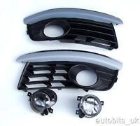 VW GOLF MK 5 V VARIANT FRONT BUMPER FOG LAMP LIGHTS AND GRILLS CHROME BROWS L&R