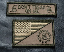 2PC DON'T TREAD ON ME GADSDEN USA FLAG NAME TAG TACTICAL MORALE HOOK PATCH