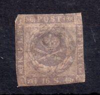 Denmark 1857 16s used grey lilac #6 WS10885