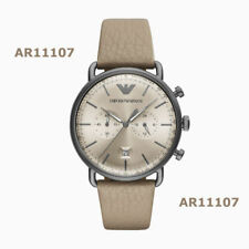 Brand New Emporio Armani Men's Taupe Leather Chronograph Dial Watch AR11107
