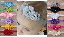 Baby Infant Toddler Girls Triplet Flower Headband w/Diamante Pearl Accent 0-18m