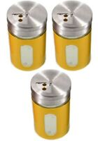 3x Gewürzstreuer-Set Streuer Aromabehälter aus Glas & Edelstahl 8x5x5cm - gelb