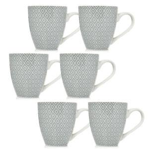 6x 450ml Porcelain Geometric Diamond Style White Grey Mug Drinks Coffee Tea Cup