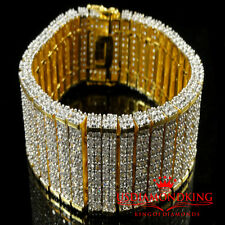 "MEN'S NEW TWO TONE 10 ROW 3D BIG BOLD LAB DIAMOND SIMULATE BRACELET 7.75"" / 81gm"