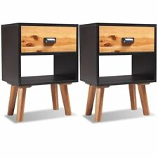 2 pcs Solid Acacia Wood Bedside Cabinets Storage Table Nightstand Bedroom End