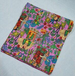 Ethnic Handmade Cotton Indian Applique Bedspread Kantha Quilt Coverlet King Size