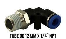 "1 Lot of 10 Male Swivel Elbow Pneumatic Push In Fitting OD 12 mm x 1/4"" NPT"