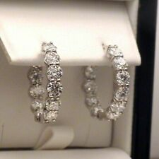 3.30 Ct Round Inside-Out Moissanite Dangle Hoop Earrings Solid 14k White Gold