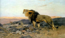 Oil painting wilhelm kuhnert - brullender lowe in steiniger steppe lion in dusk