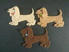 3 felt Dachshund dogs die cuts, embellishments, crafts