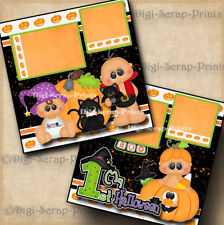 1ST HALLOWEEN baby 2 premade scrapbooking pages paper piecing DIGISCRAP #A0036