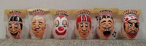 6 RARE VINTAGE MILT STORY ACETATE ART EGGHEADS 1956 OLD INDIAN CLOWN PIRATE NOS