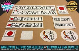 Kuwahara LASERLITE BMX Frame Decal Set (83-85 White) Official Licensed Product!