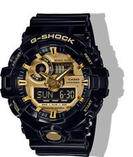 NEW CASIO GA710GB-1A ANA DIGITAL SUPER ILLUMINATOR BLACK AND GOLD WATCH