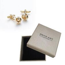 Mens Keltic Knot Design Gold Cufflinks & Gift Box By Onyx Art